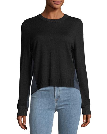 Sadie Crewneck Long-Sleeve Merino Wool Sweater