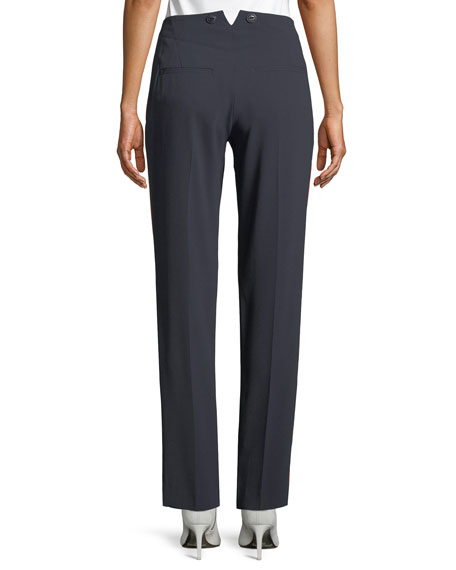 Dagger Slim Straight-Leg Crepe Pants