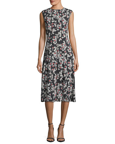 Marley Floral-Print Sleeveless Midi Dress with Pintucking