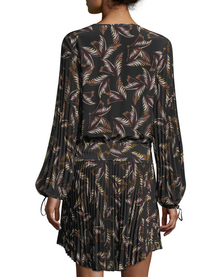 Rory V-Neck Long-Sleeve Silk Printed Dress