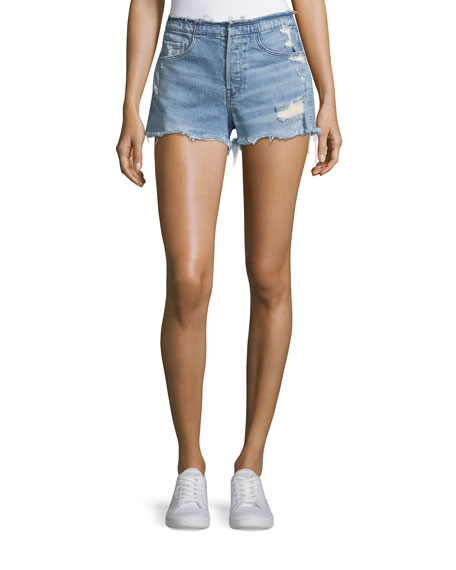 Shelter High-Rise Stripped Denim Shorts