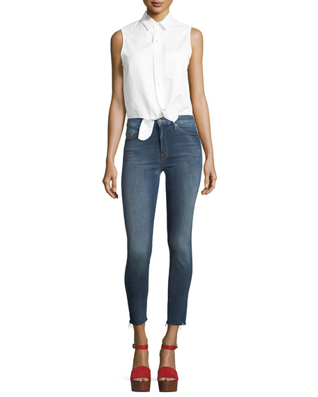 High-Waist Looker Ankle Raw-Edge Jeans