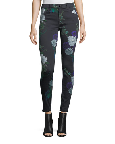 620 Mid-Rise Floral-Print Super Skinny Jeans
