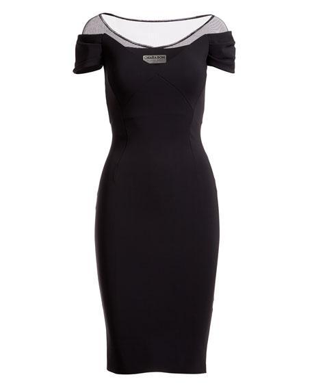Analissa Illusion Short-Sleeve Cocktail Dress