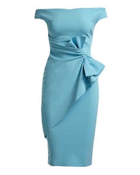 Rashmi Bow Off-the-Shoulder Sheath Cocktail Dress