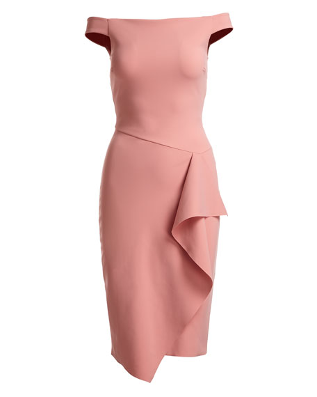 Kriti Off-the-Shoulder Draped Cocktail Dress