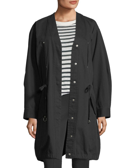 Snap-Front Oversized Washed Cotton Twill Jacket