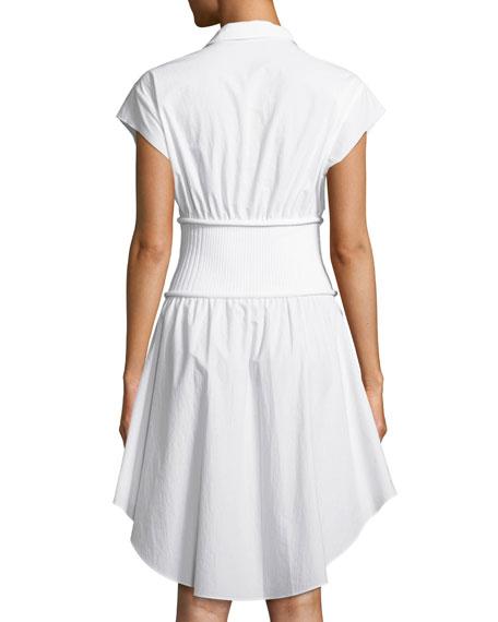 Washed Cotton Poplin Shirtdress with Rib Combo