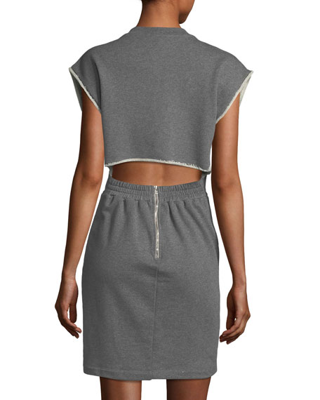 Crewneck French-Terry Cinch-Waist Cotton Dress