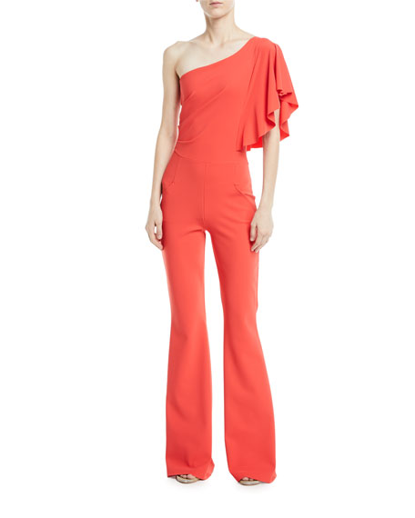 Sistine One-Shoulder Five-Pocket Jumpsuit
