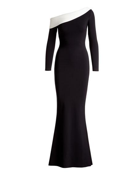 Bicolor Asymmetric Long-Sleeve Gown