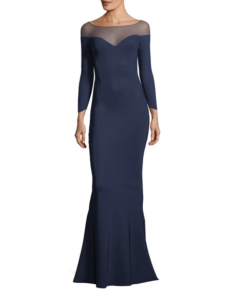 Zefira Long-Sleeve Illusion Gown