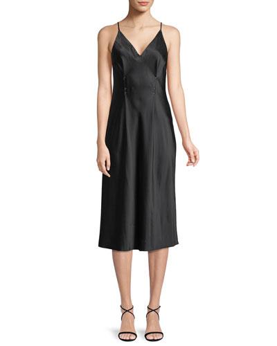 Sleeveless Silk Charmeuse Camisole Midi Dress