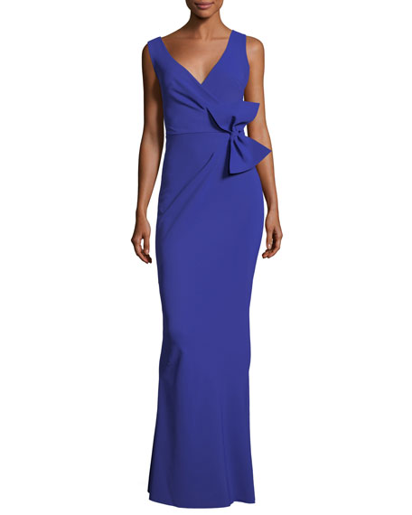 Lulwah V-Neck Column Bow Gown