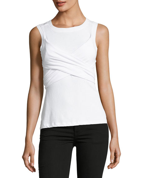 Twist-Front Sleeveless Draped Cotton Tank