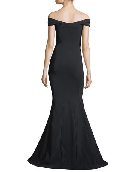 Gena Embellished Off-the-Shoulder Mermaid Gown