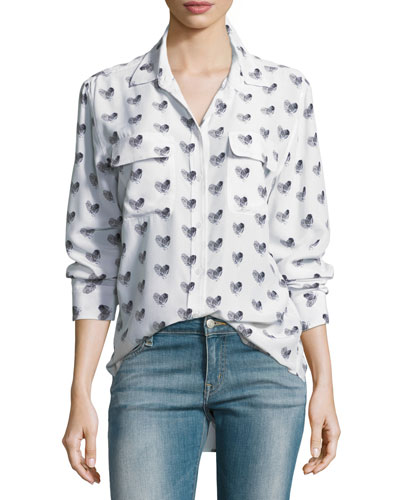 Heart-Print Button-Front Silk Signature Shirt