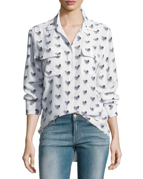Heart-Print Button-Front Silk Signature Shirt