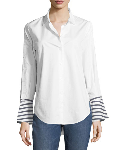 Button-Front Striped-Back Poplin Shirt