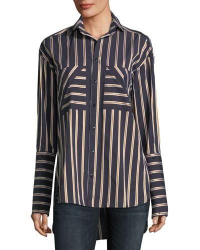 Striped Button-Front Cotton Shirt