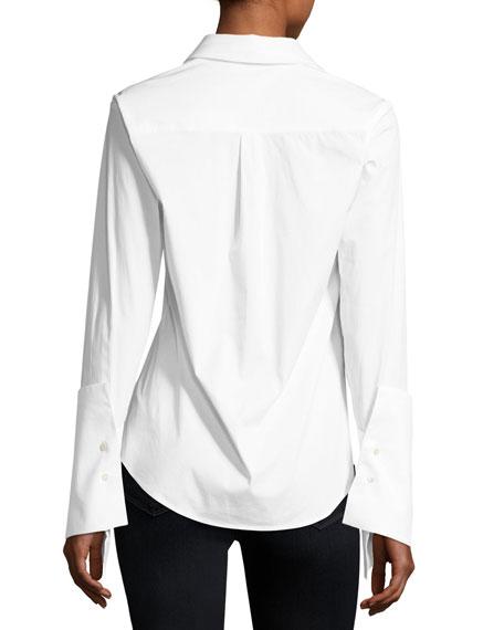 Reba Button-Front Extended-Cuff Poplin Shirt