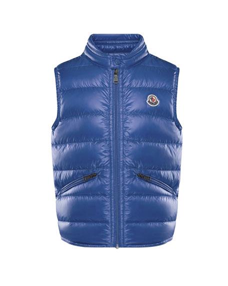 Moncler Gui Down Puffer Vest, Blue, Size 4-6