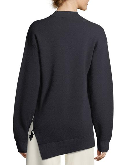 Crewneck Oversized Merino Wool Sweater with Slit Detail