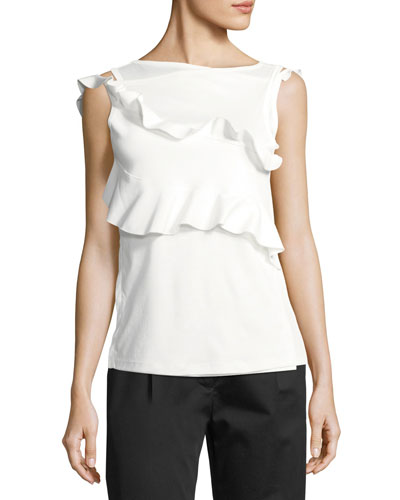 High-Neck Ruffled Cotton Tank
