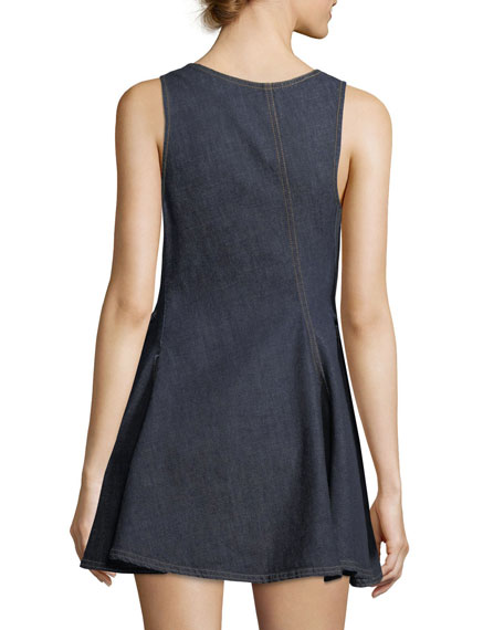 V-Neck Sleeveless Denim Short Dress