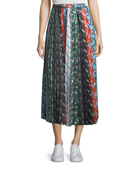 Mixed-Print A-Line Silk Skirt