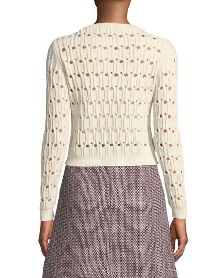 Italian Cotton-Blend Pointelle Sweater