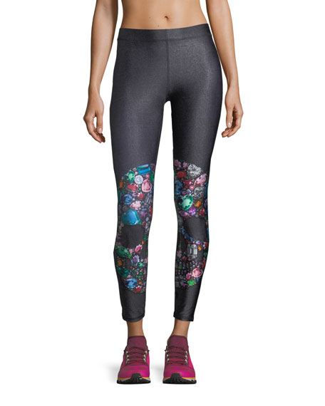 Gemstone Crystal Skull Performance Leggings