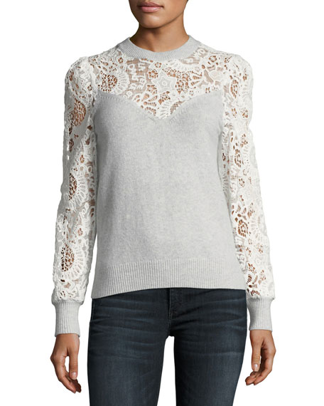 Crewneck Long-Sleeve Mixed-Lace Pullover Sweater