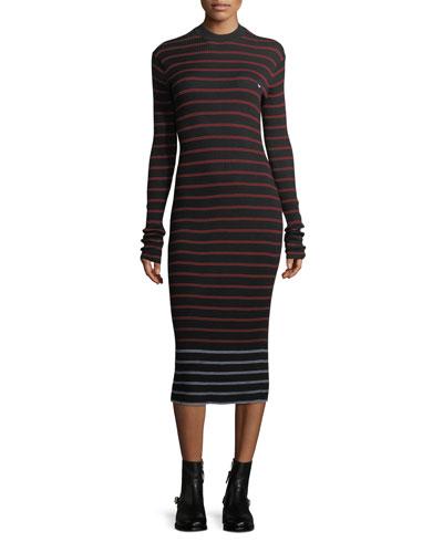 Striped Crewneck Rib-Knit Bodycon Dress