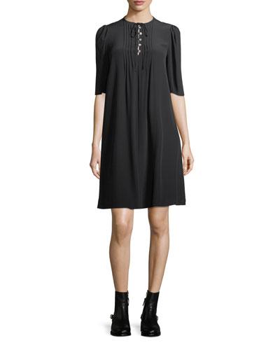Pintuck Half-Sleeve A-Line Silk Dress