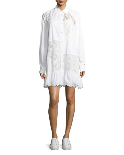 Mixed-Media Button-Front Long-Sleeve Cotton Dress