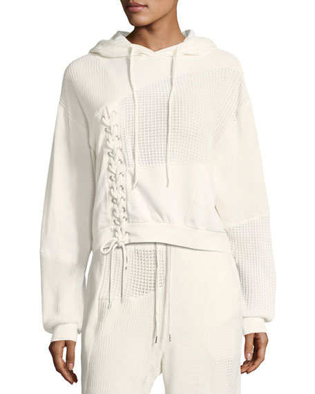 Knit Patched Hoodie with Lace-Up Trim