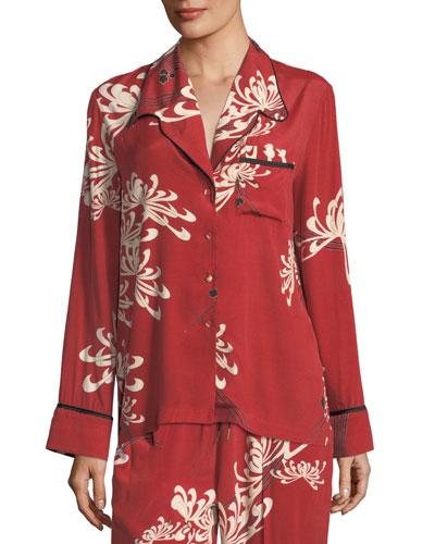 Button-Front Pajama Silk Shirt