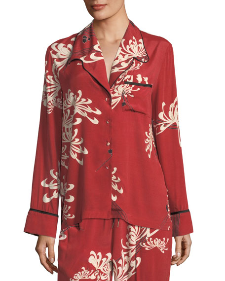 Button-Front Pajama Silk Shirt