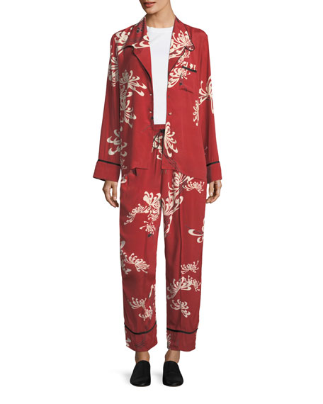 Drawstring Wide-Leg Printed Silk Pajama Pants
