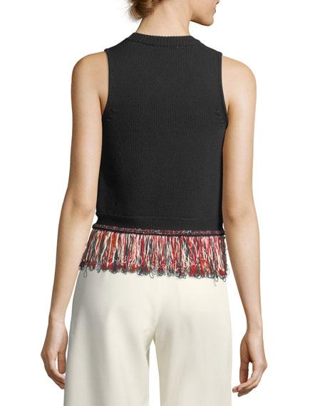 V-Neck Sleeveless Knit Tank Top with Fringed-Hem