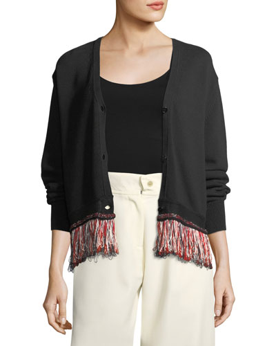 V-Neck Button-Front Cotton-Blend Cardigan with Fringed Hem