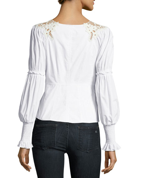 Luna Crewneck Long-Sleeve Poplin Top with Crochet Lace