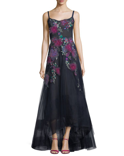 Sleeveless Corset High-Low Floral Gown