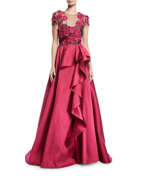 bbc6530c Marchesa Notte Floral-Bodice Illusion Ball Gown