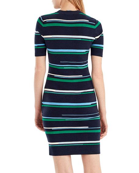 Striped Short-Sleeve Knit Dress