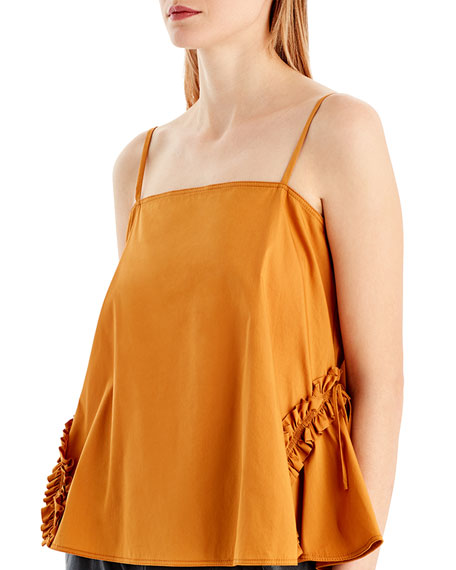 Ruffle-Detail Cotton-Blend Camisole