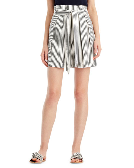 Striped High-Waist Paperbag Shorts