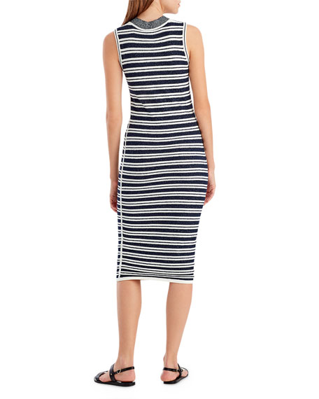 Striped Crewneck Sleeveless Knit Dress