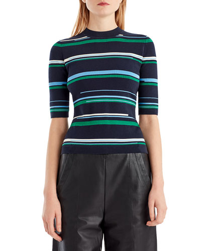 Striped Short-Sleeve Knit Top